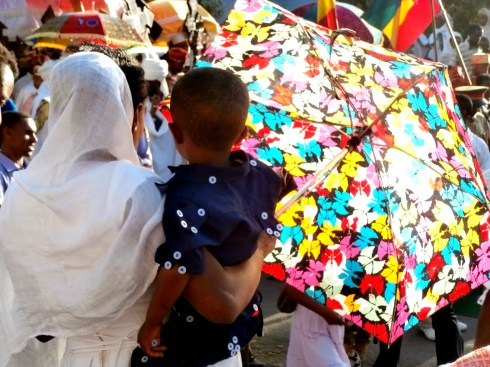 Mother and boy watching Timket parade