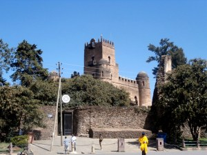 A close up of the castle