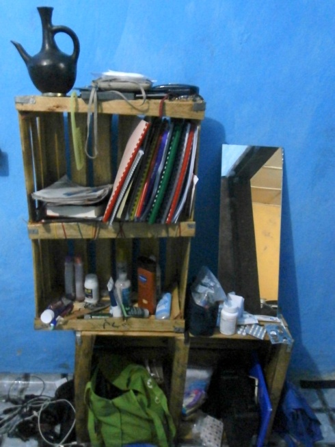 The bookshelve I made out of veggie crates. Probably killed a few brain cells with that varnish
