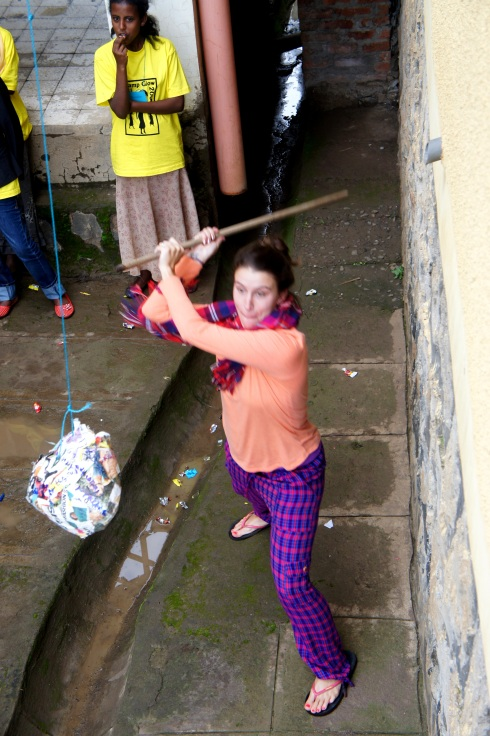 Morgan D got a little sick that week (hello worms and 2 bacterial infections!) so she took it out on the pinata