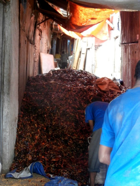 A huge pile of dried kariya peppers, the main spice in berbere