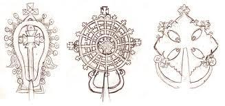 Lalibela on left, St. George, and Gondar crosses