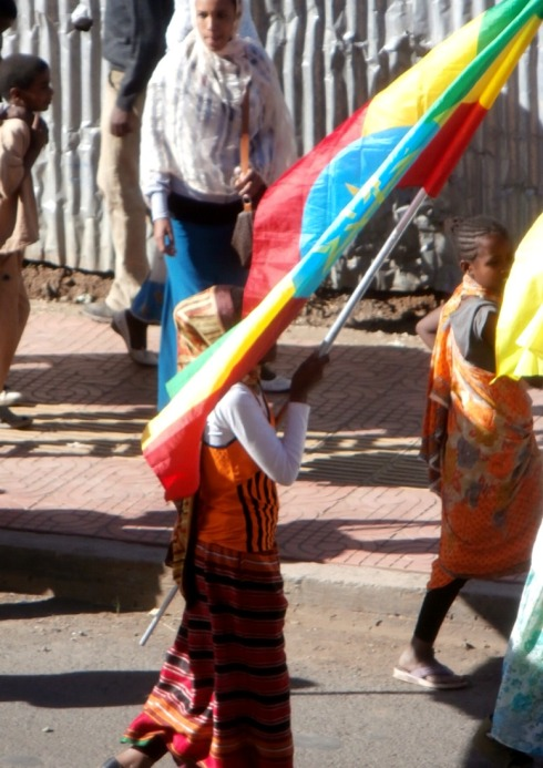 Muslim student carrying the Ethiopian Flag