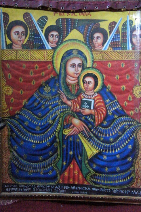 typical Ethiopian Orthodox painting of Mary and Jesus