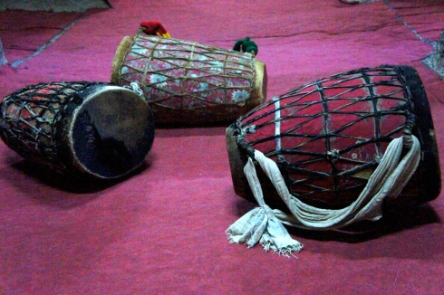 priest's drums to accompany the chanting. The leather lashes represent the lashes of the whip on Jesus' back.
