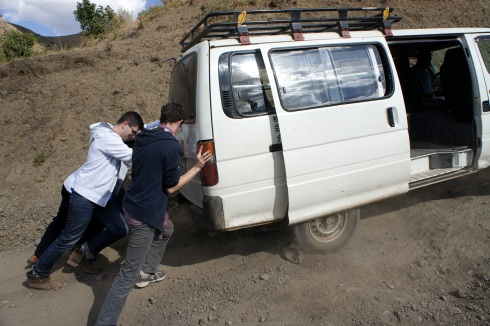 our van needed a little help on the sandy roads