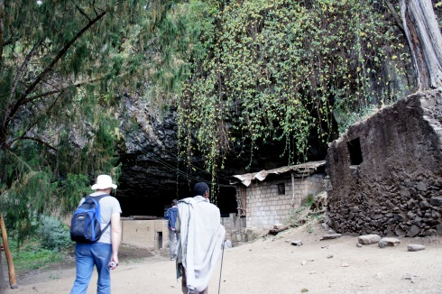 Yemrehana Kristos Monastery is in that ivy covered cave