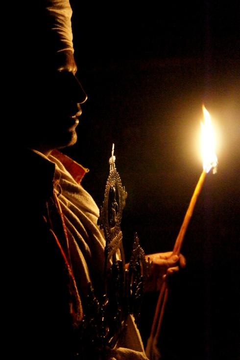 Yemrehanos Kristos monastery by candlelight