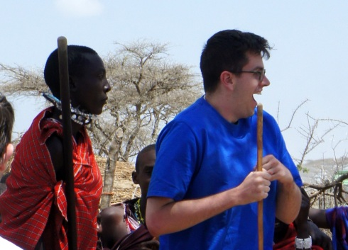 David jumping with the Masai
