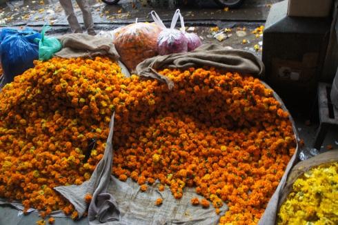 Flower market in Delhi