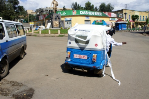 riding around Gondar and honking at everybody