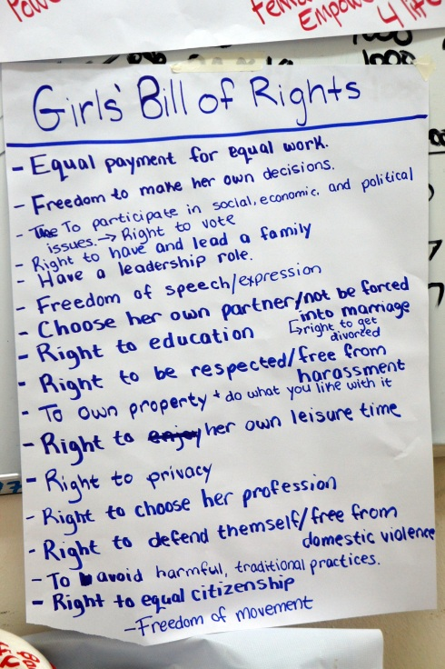 Girls Bill of Rights. From the girls themselves