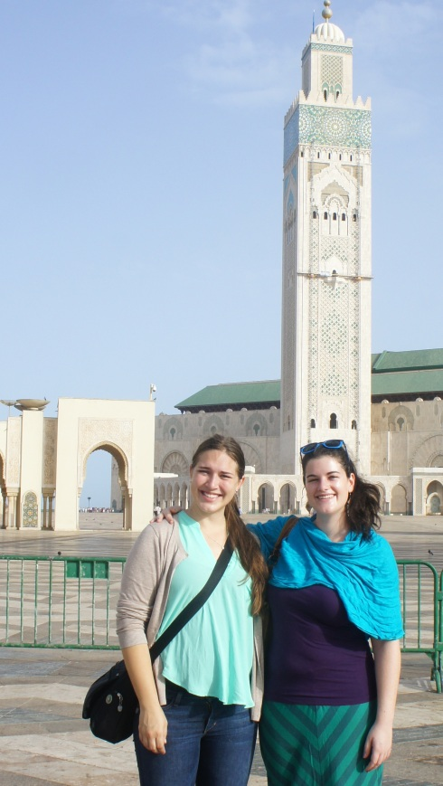 Lora and I in front of the Hassan II Mosque