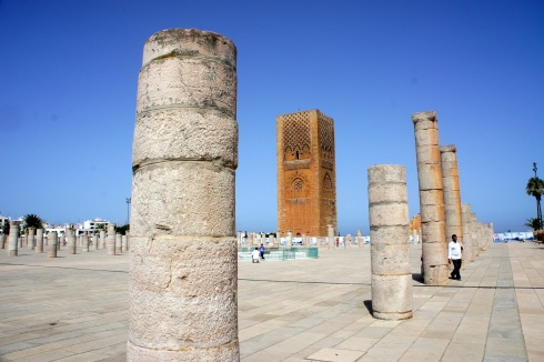 the foundations of the old mosque and the Hassan II tower