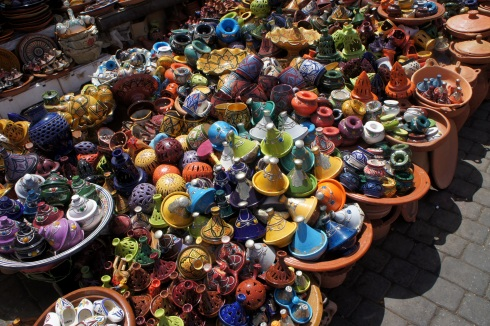 Colourful tagines in the Meknes Medina