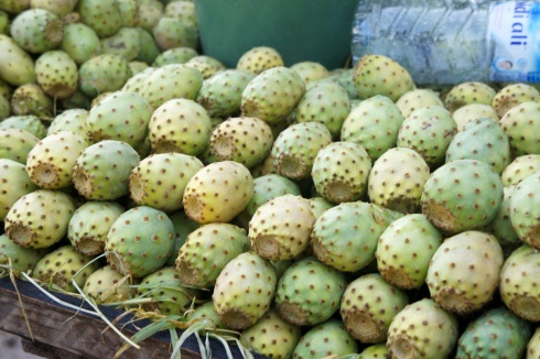 Prickly pear are sold on the street - they are a cross between a kiwi and a melon.