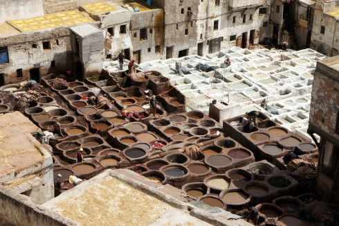 Tannery pits - dye and phosphates and urine. Sexy.
