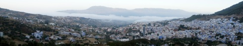 Early morning Chefchouen with fog