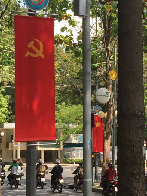The communist hammer and sickle for industry and agriculture was all over the city.