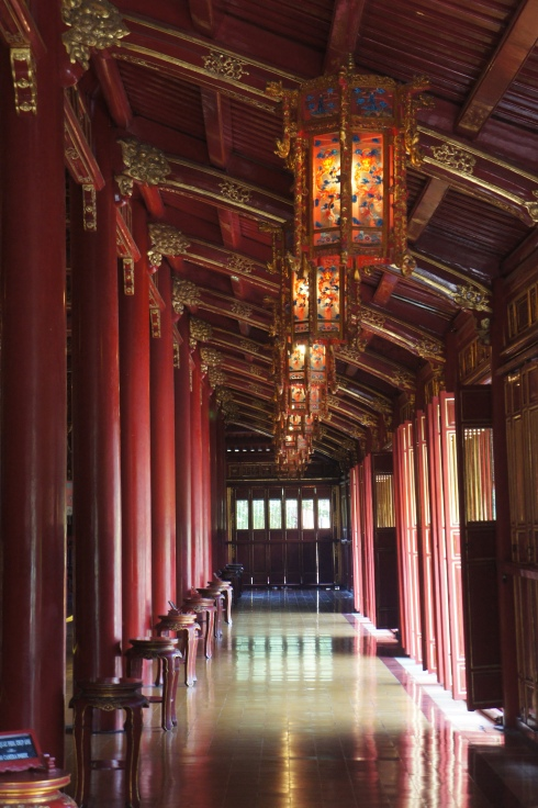 In the hall of royal urns at the Hue Citadel