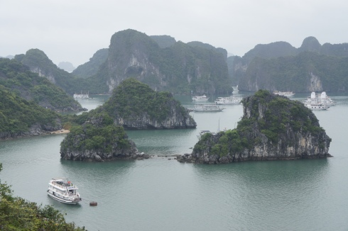 The view from Ti Top Island out across the many many many limestone islands in Halong Bay.